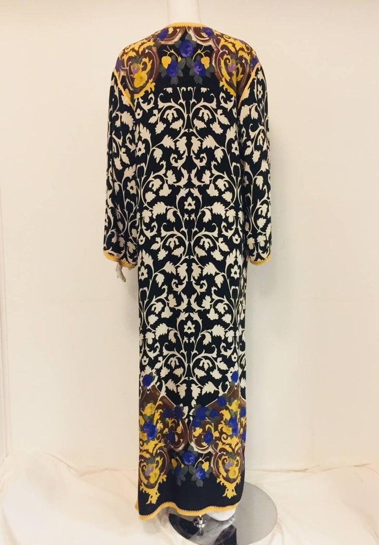Balmain Black and White Multi Floral Print Silk Kaftan With Gold Trim  5