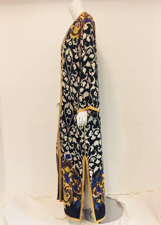 Balmain Black and White Multi Floral Print Silk Kaftan With Gold Trim  6