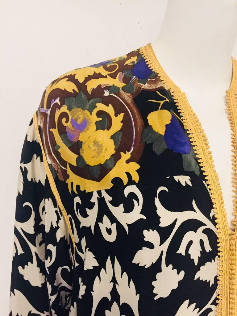 Balmain Black and White Multi Floral Print Silk Kaftan With Gold Trim  3