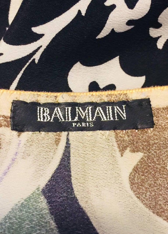Balmain Black and White Multi Floral Print Silk Kaftan With Gold Trim  7