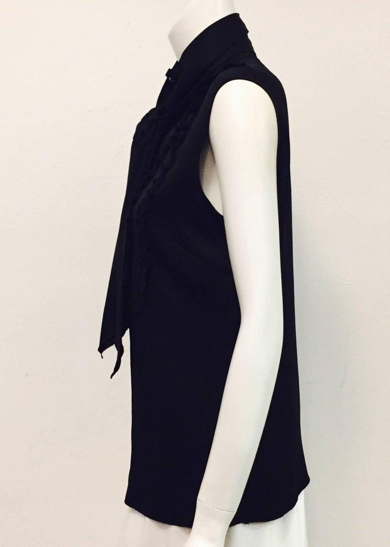 Conceptually Creative Chanel Black Silk Tuxedo Style Blouse with Up Collar 4