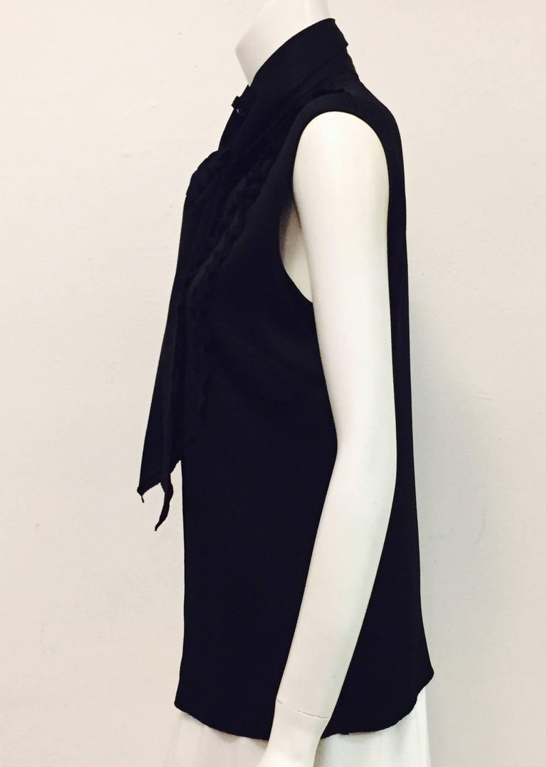 Women's Conceptually Creative Chanel Black Silk Tuxedo Style Blouse with Up Collar For Sale