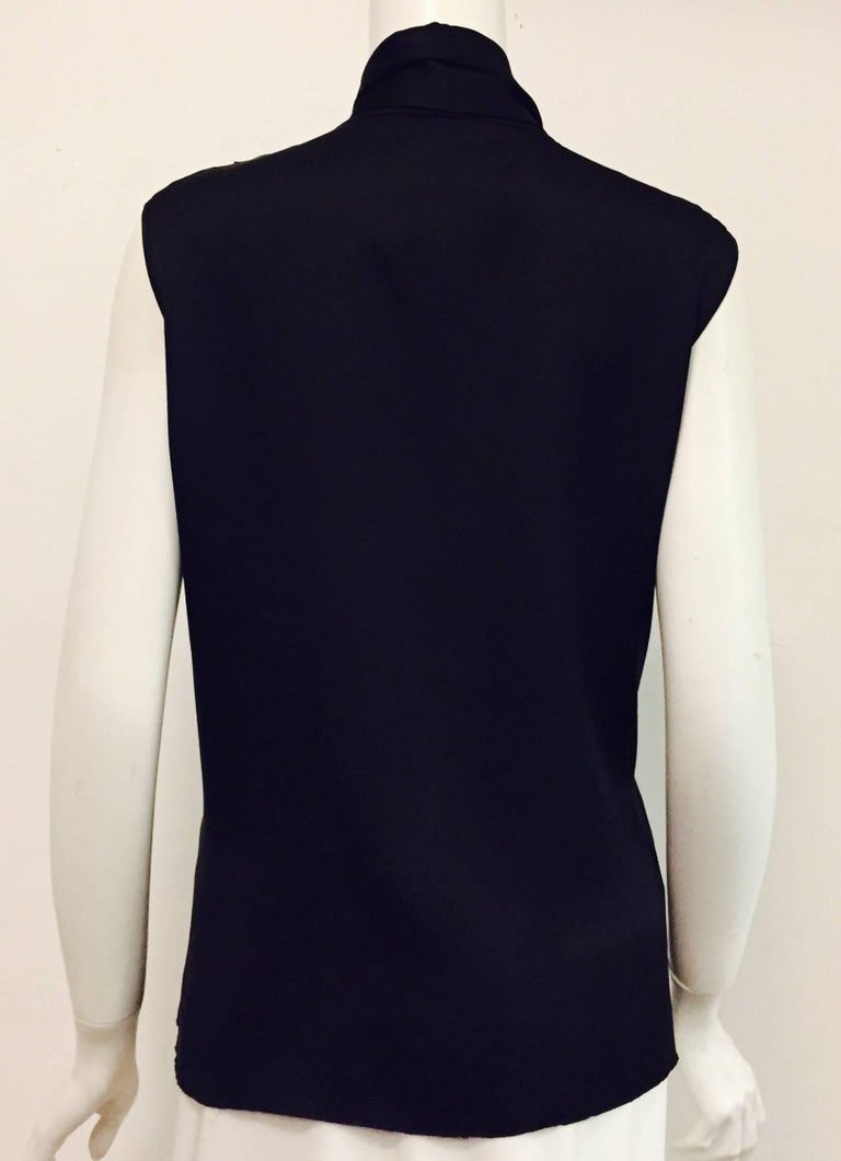 Conceptually Creative Chanel Black Silk Tuxedo Style Blouse with Up Collar In Excellent Condition For Sale In Palm Beach, FL