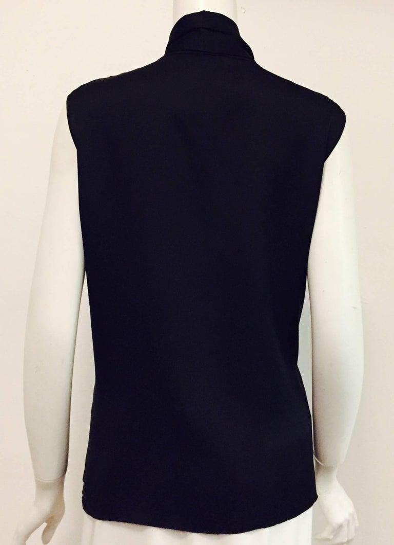 Conceptually Creative Chanel Black Silk Tuxedo Style Blouse with Up Collar 3