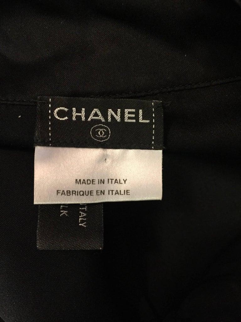 Conceptually Creative Chanel Black Silk Tuxedo Style Blouse with Up Collar For Sale 1