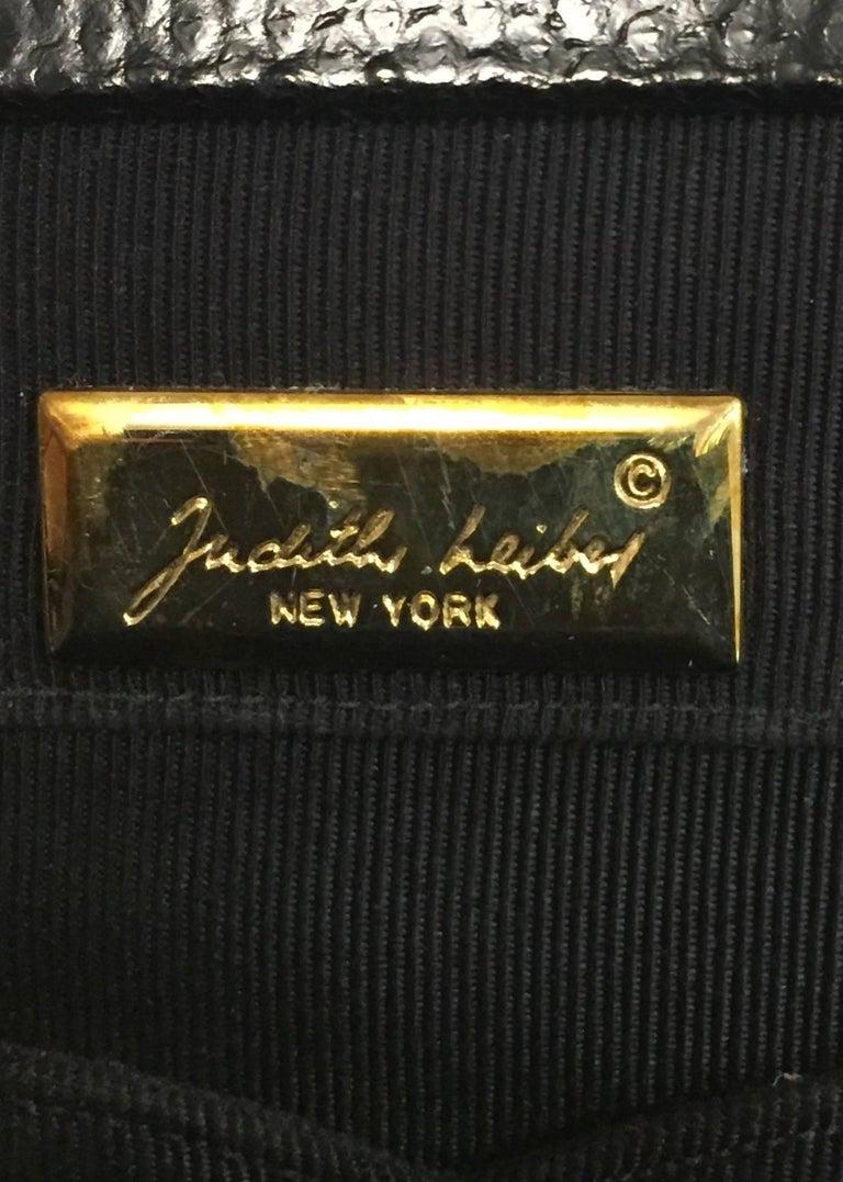Jeweled Judith Leiber Black Lizard Timeless Clutch/Shoulder Bag  For Sale 3