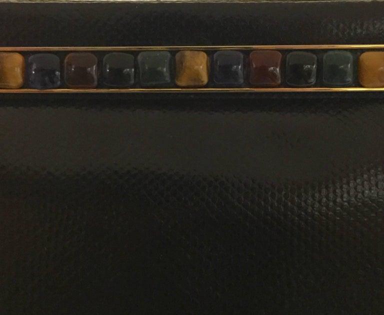 Jeweled Judith Leiber Black Lizard Timeless Clutch/Shoulder Bag  For Sale 4
