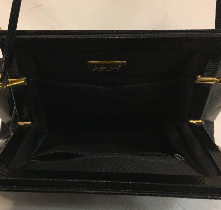 Jeweled Judith Leiber Black Lizard Timeless Clutch/Shoulder Bag  For Sale 2