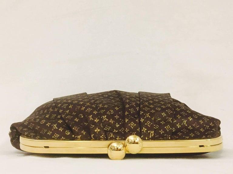 2f822eabb16c Black Louis Vuitton Limited Edition Monogram Aumoniere Satin Brown   Gold  Bag For Sale