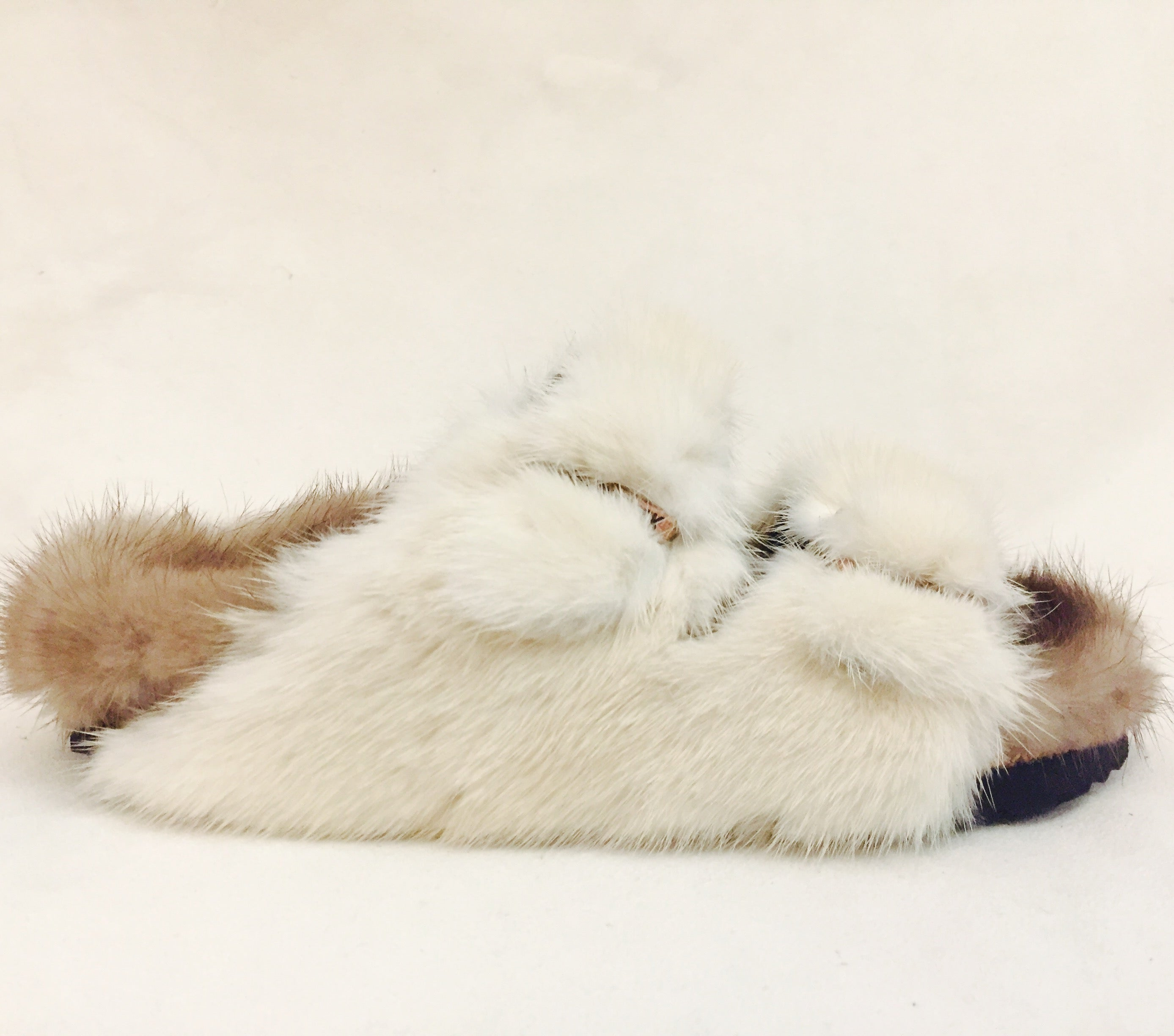 0e4b1ce73db Bold Birkenstock Classic Sandals With Beige and Brown Sheepskin and Mink Fur  at 1stdibs