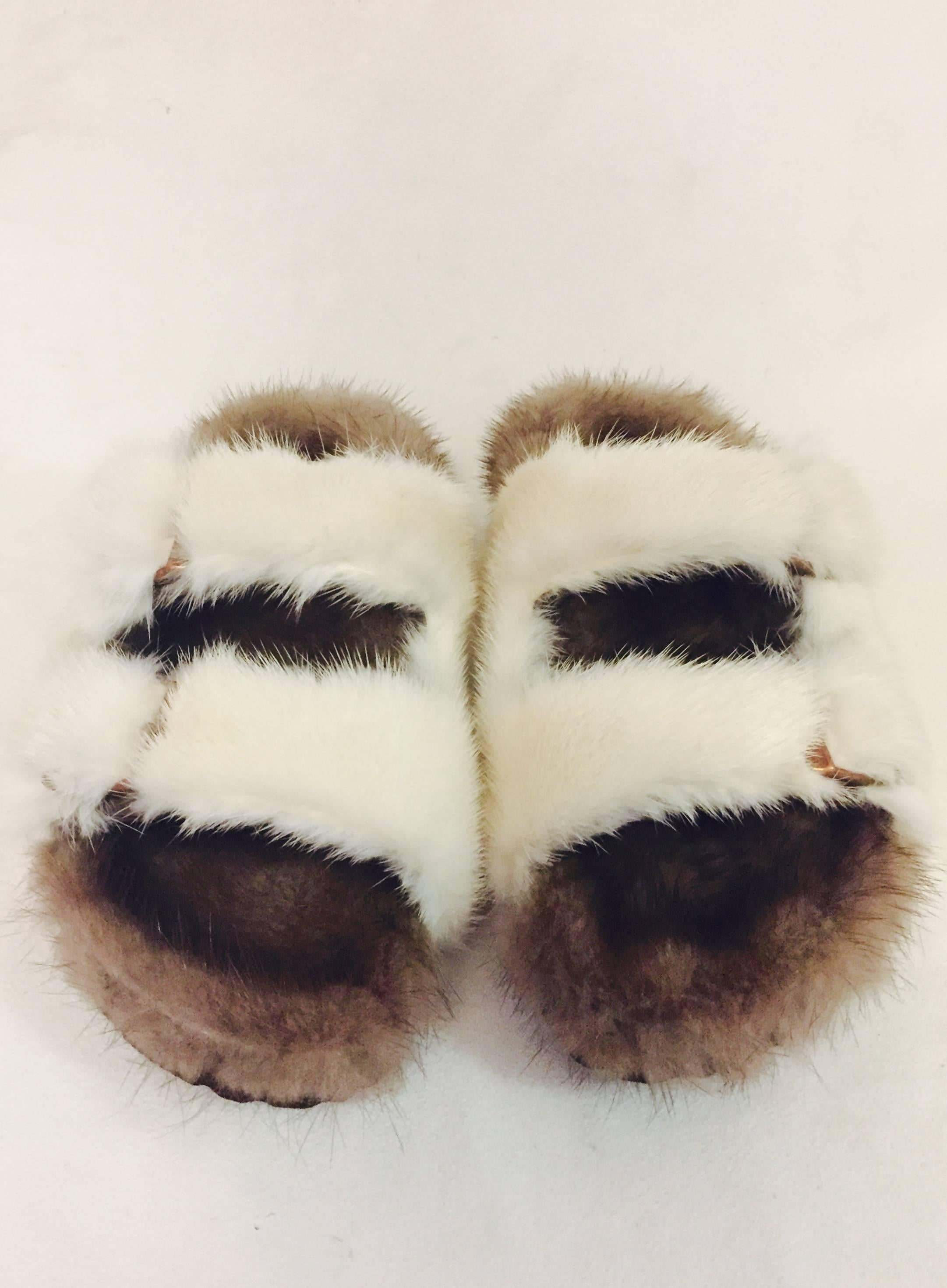Beige and Brown Sheepskin and Mink Fur