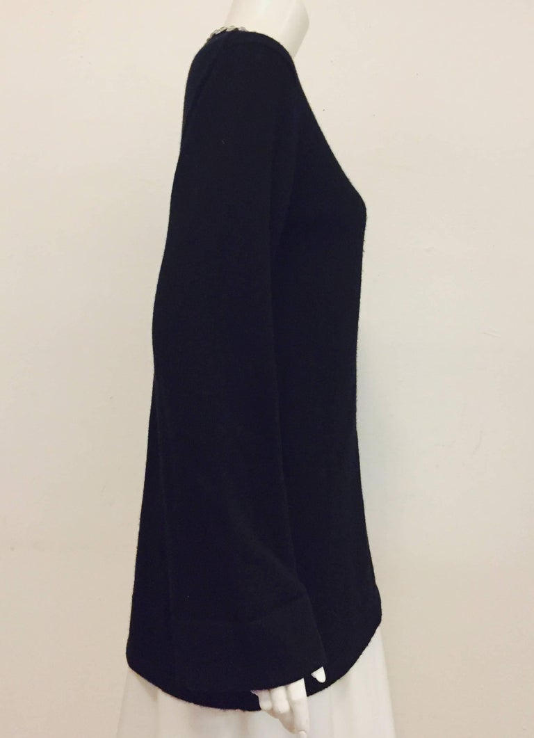 Women's Marvelous Michael Kors Black Cashmere Sweater with Crystal Adornment on Neckline For Sale