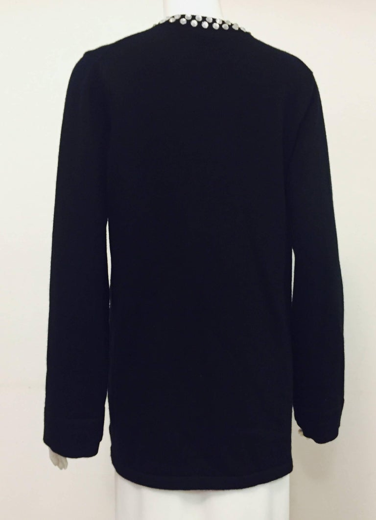 Marvelous Michael Kors Black Cashmere Sweater with Crystal Adornment on Neckline In Excellent Condition For Sale In Palm Beach, FL