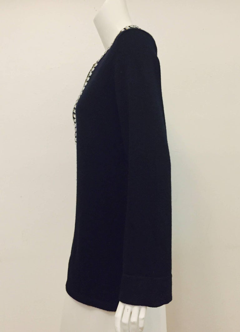 Michael Kors crystal embellished black luxe cashmere pullover sweater has front 9 1/2
