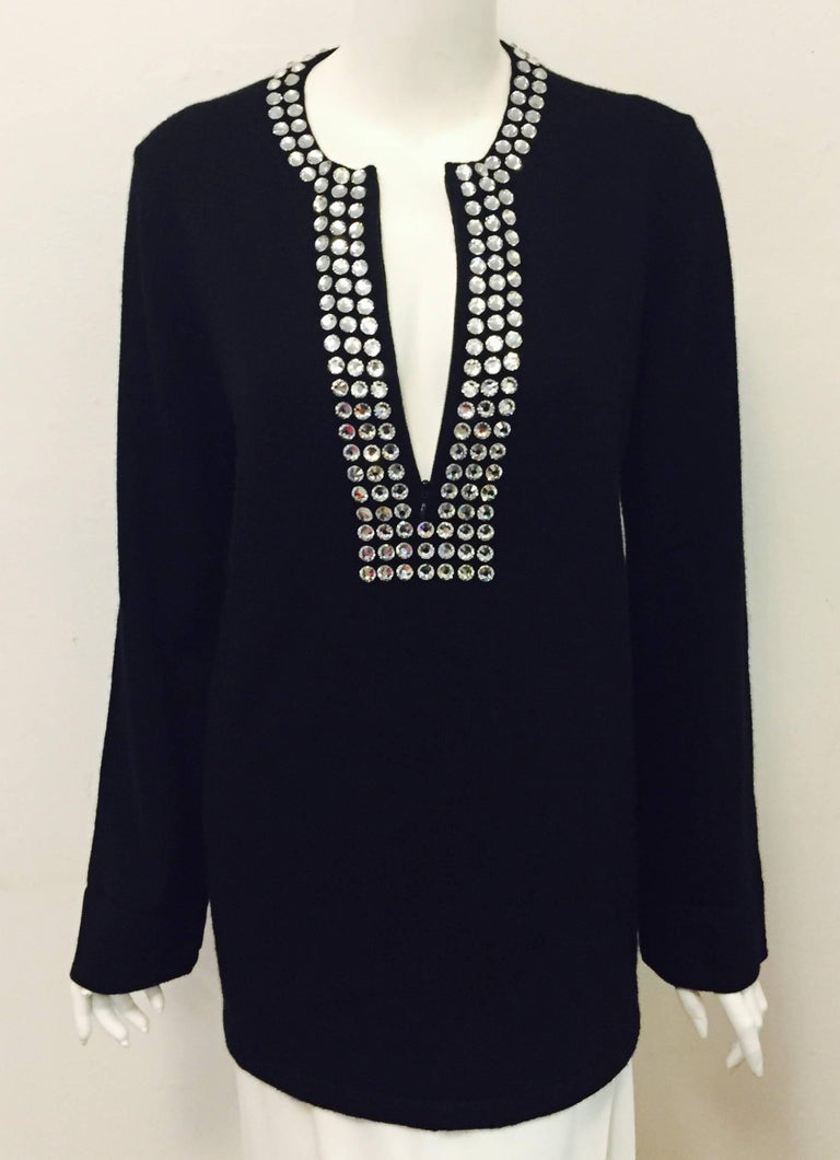 Marvelous Michael Kors Black Cashmere Sweater with Crystal Adornment on Neckline For Sale 1