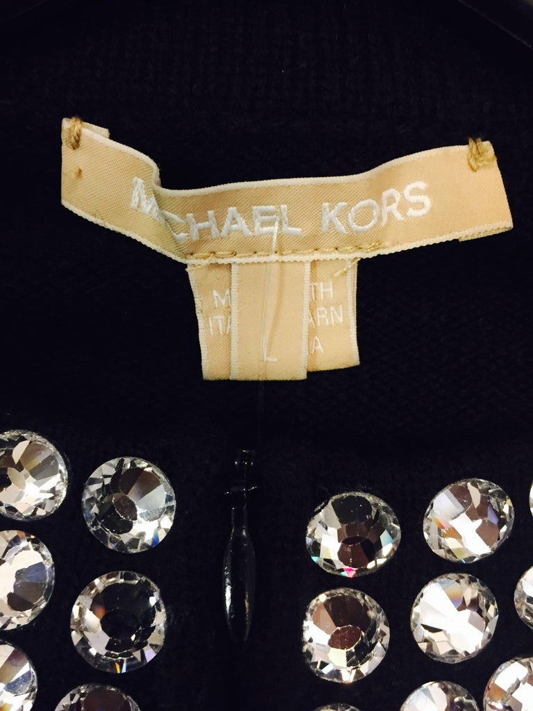 Marvelous Michael Kors Black Cashmere Sweater with Crystal Adornment on Neckline For Sale 2