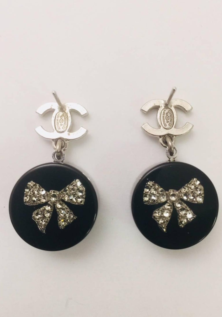 2010 Chanel Rare Resin Crystal Bows And Crystal Cc Logo Earrings At
