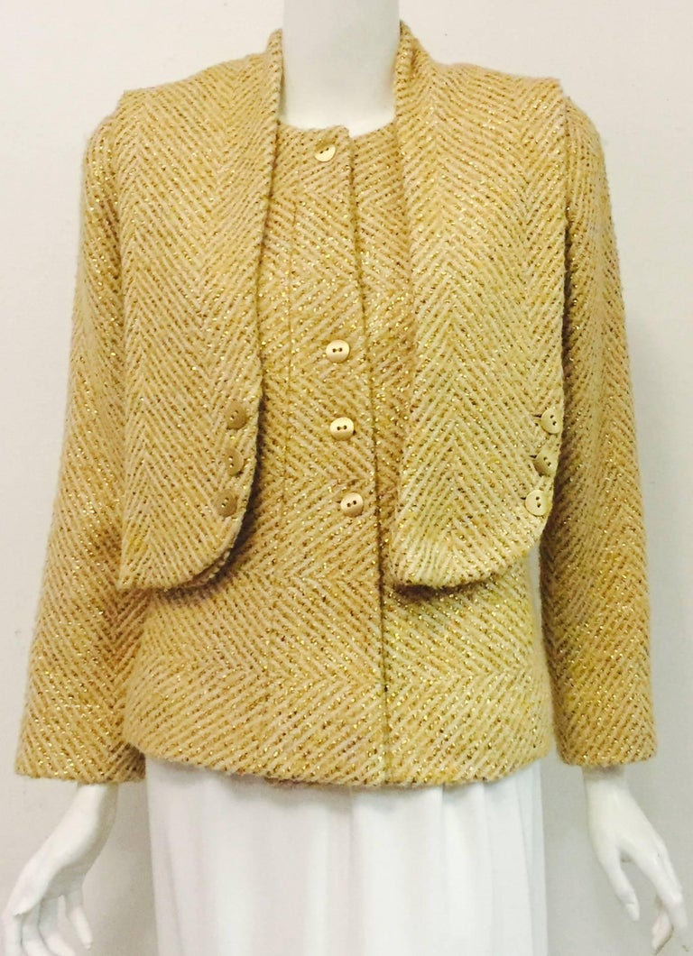 Cherished Chanel Wool and Silk Jacket Cream Fabric w/woven Gold ...