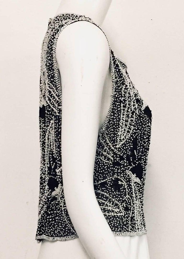 Saint Laurent Black and White Beaded Sleeveless Top with Asymmetric Hem 2