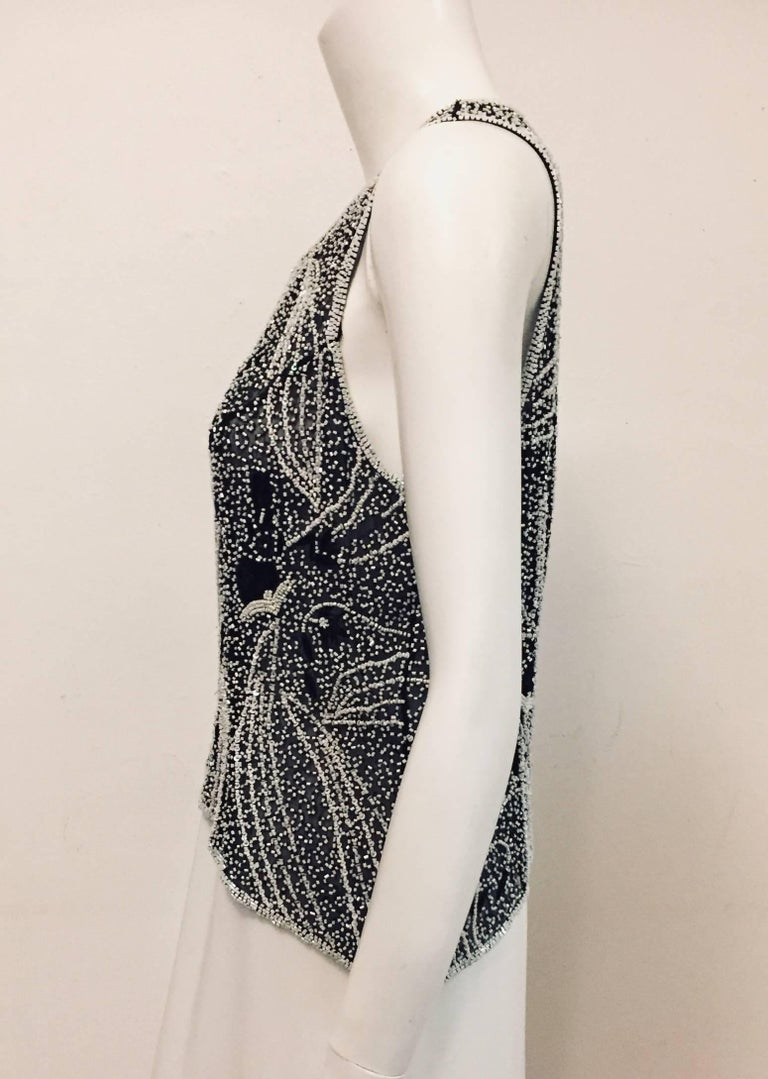 Women's Saint Laurent Black and White Beaded Sleeveless Top with Asymmetric Hem For Sale