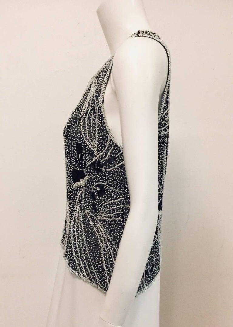 Saint Laurent Black and White Beaded Sleeveless Top with Asymmetric Hem 4