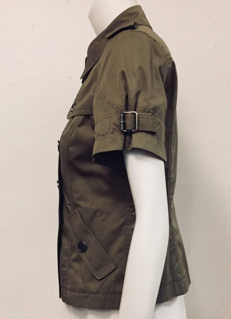 Burberry Military Style Taupe Short Sleeve Top In Excellent Condition For Sale In Palm Beach, FL