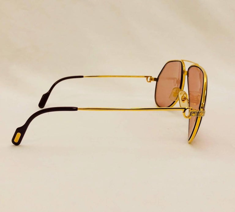 773c6ffe7a7f4 Cartier Vendome Santos Vintage Satin Sunglasses 62 14 In Good Condition For  Sale In Palm Beach