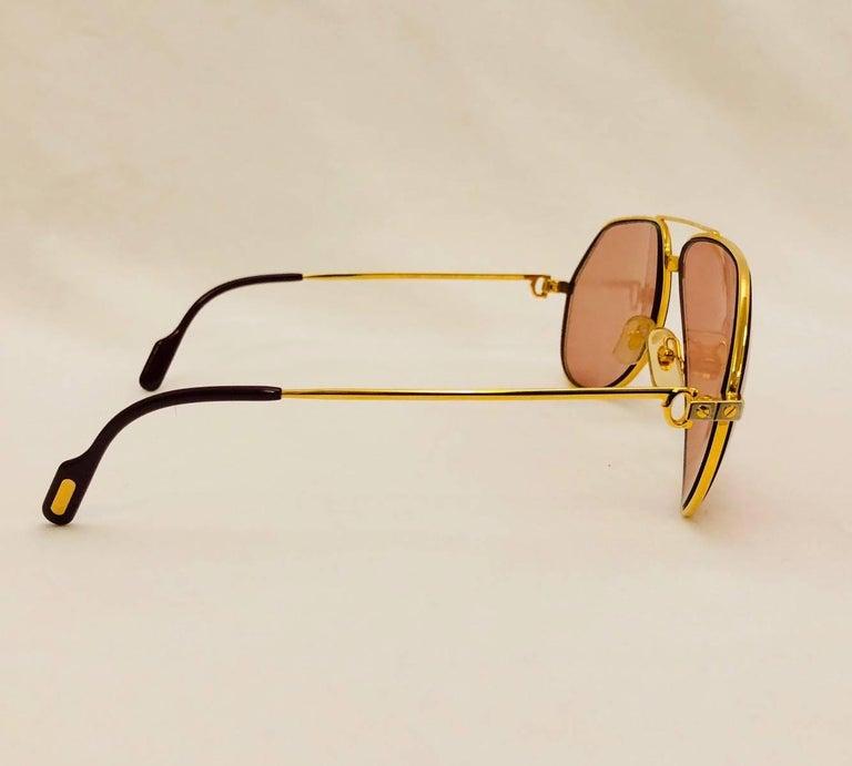 99aee9ec00fba Cartier Vendome Santos Vintage Satin Sunglasses 62 14 In Good Condition For  Sale In Palm Beach
