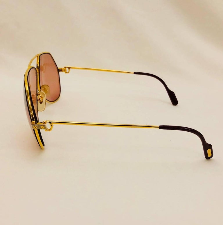 62582527da5 Cartier Vendome Santos Vintage Satin Sunglasses 62 14 For Sale. Cartier is  renown for crafting some of the most desired aviator sunglasses in the  world!