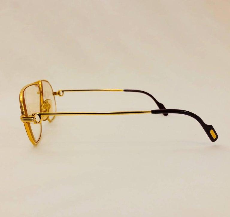 Beige Cartier Vintage Vendome Glasses 59 14, 1980s  For Sale