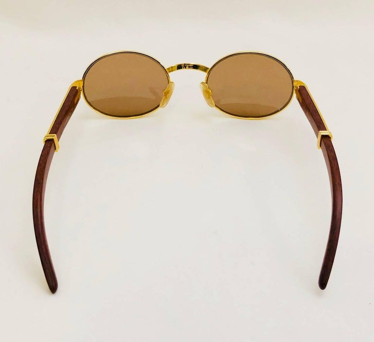 f812437561 Brown Vintage Cartier Giverny Palisander 18K Gold   Rosewood Sunglasses 53  22 For Sale