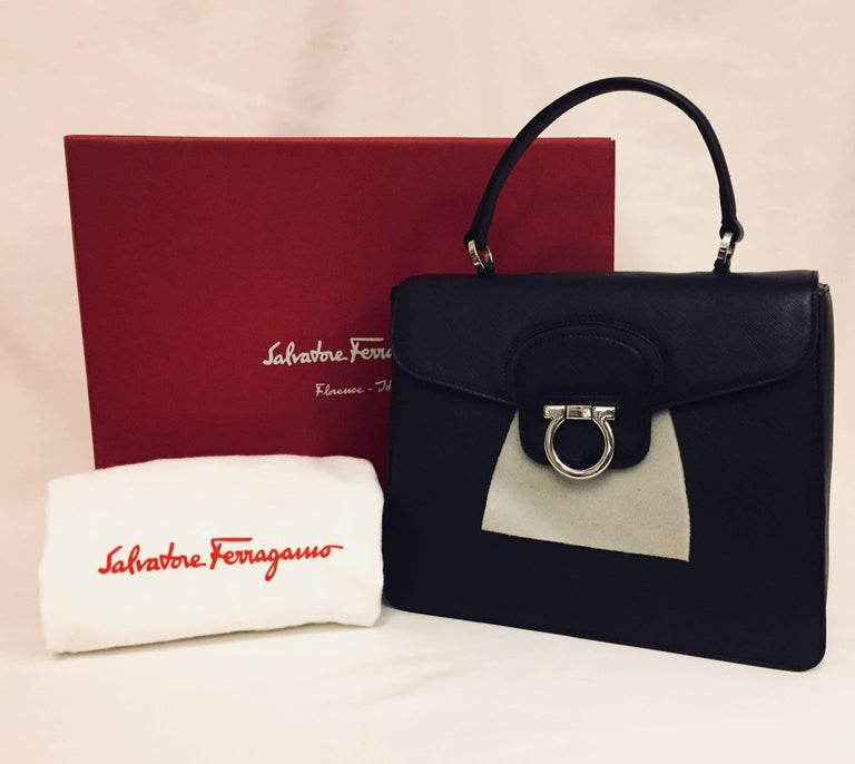 Fit For A Lady This Structured Salvatore Ferragamo Black Katia Bag Is The Perfect Size