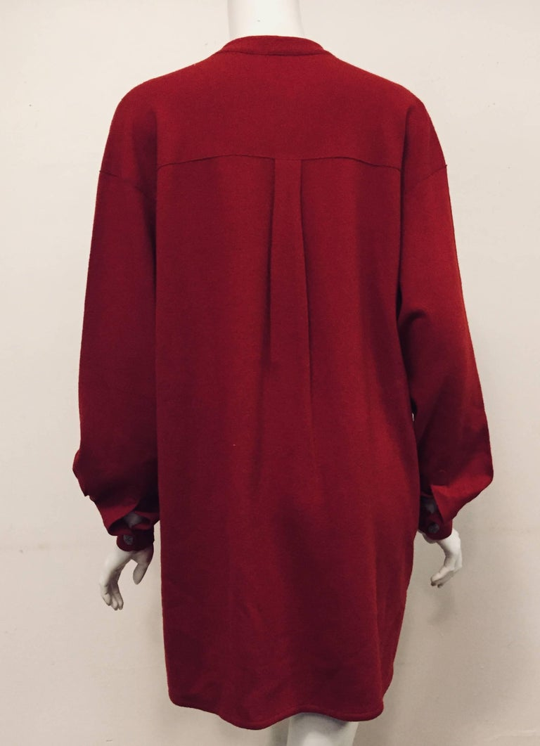 Red Casual Chanel Cranberry 100% Wool Pullover With Bib Front Size 46 For Sale