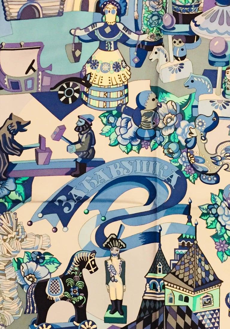 HIghly Collectible Hermès Zabavushka Blue Silk Scarf by Evgenia Miroschnichenko In Excellent Condition For Sale In Palm Beach, FL
