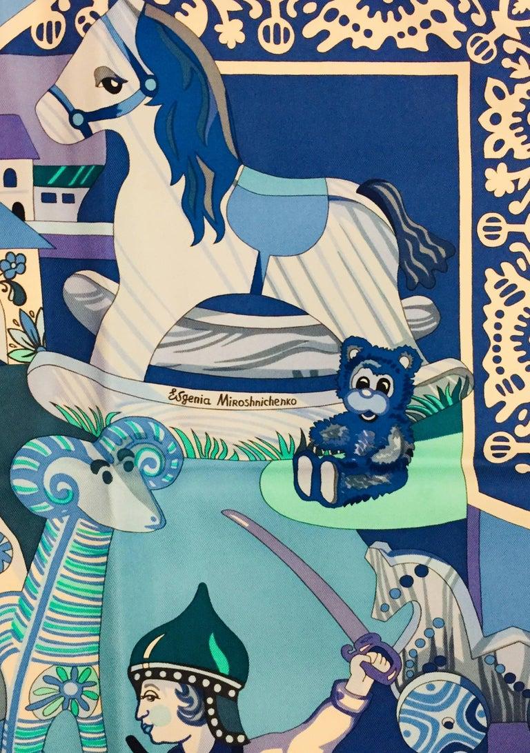 HIghly Collectible Hermès Zabavushka Blue Silk Scarf by Evgenia Miroschnichenko For Sale 1
