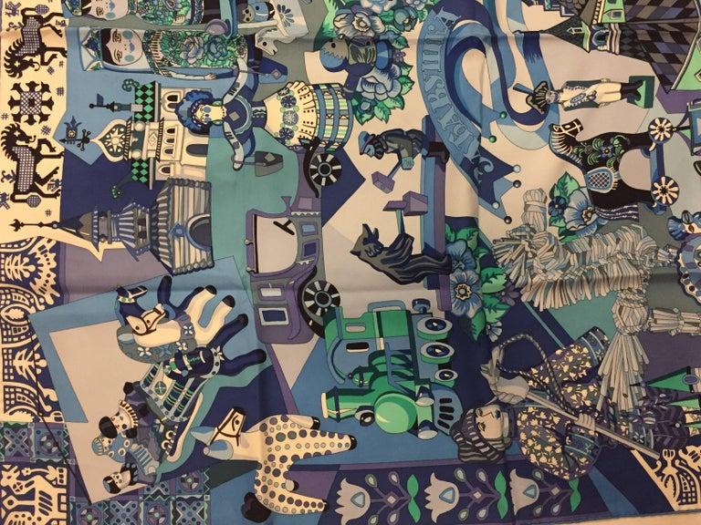 HIghly Collectible Hermès Zabavushka Blue Silk Scarf by Evgenia Miroschnichenko For Sale 2