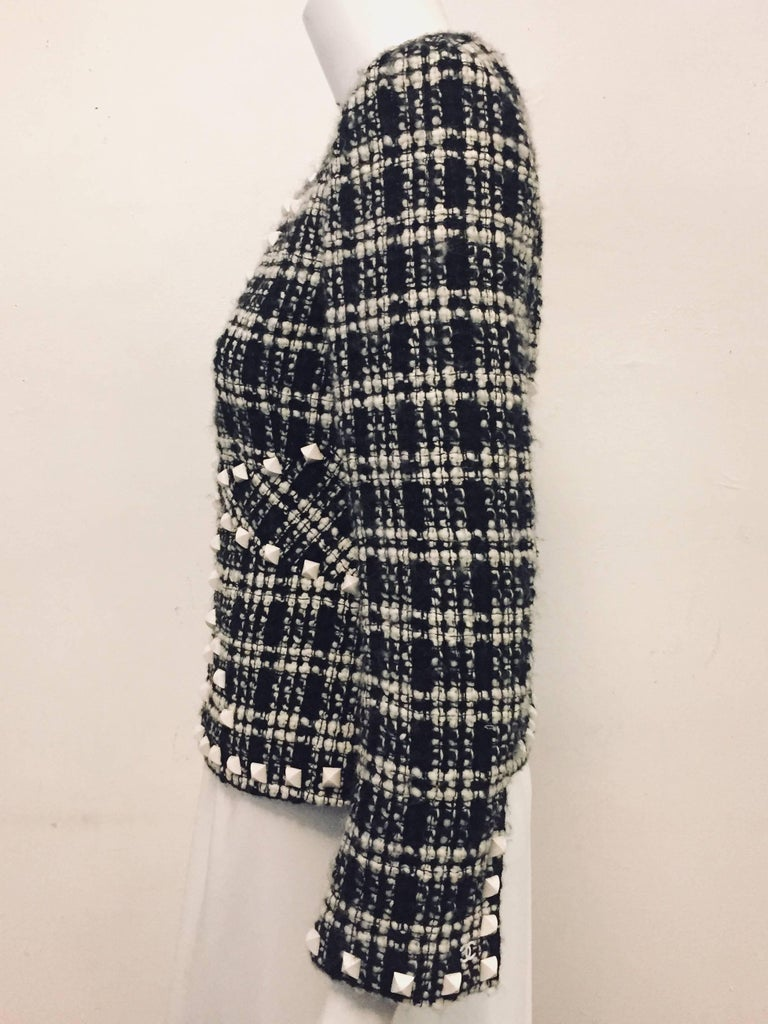 Chanel  Black & White Tweed Jacket with White Rockstuds Throughout For Sale 1