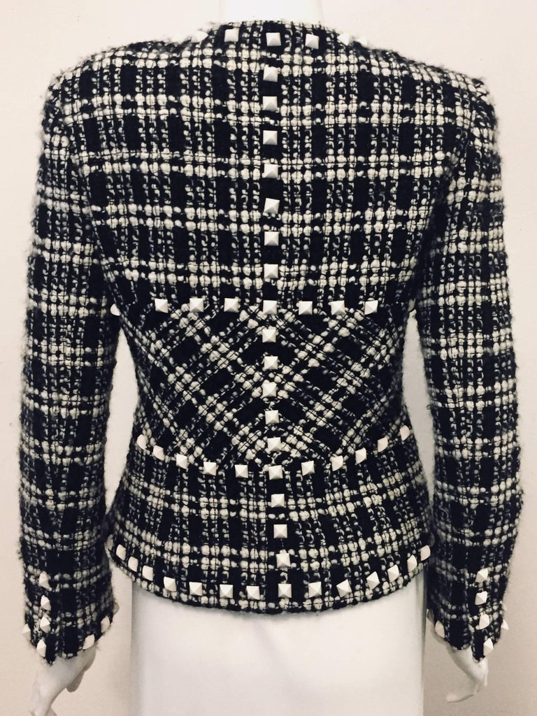Chanel  Black & White Tweed Jacket with White Rockstuds Throughout In Excellent Condition For Sale In Palm Beach, FL