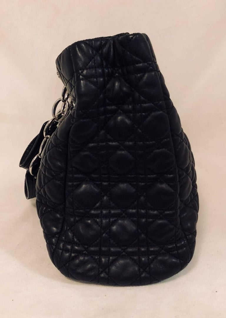 a4049d598090 Christian Dior Black Cannage Quilted Lambskin Soft Shopping Tote Large In  Excellent Condition For Sale In