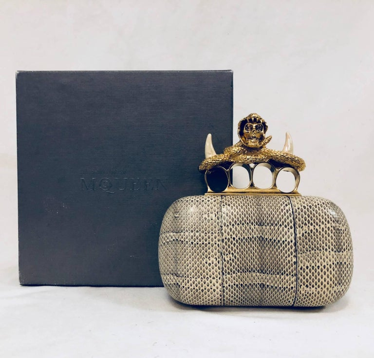 Alexander Mcqueen Snakeskin Knuckle Duster Box Clutch With Brass Hardware For 3