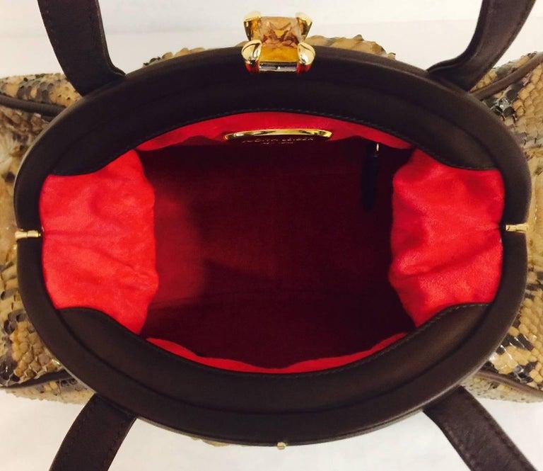 Judith Leiber Gathered Python Frame Hand Bag With Swarovski Crystal Feet For Sale 2