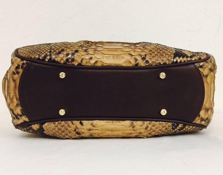 Women's Judith Leiber Gathered Python Frame Hand Bag With Swarovski Crystal Feet For Sale