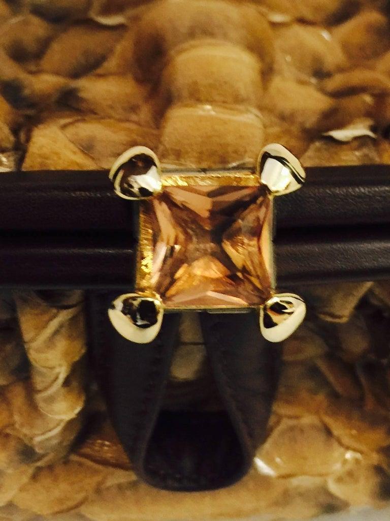 Judith Leiber Gathered Python Frame Hand Bag With Swarovski Crystal Feet For Sale 1