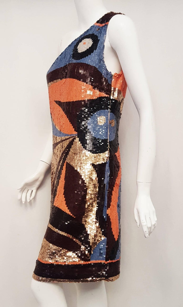 Emilio Pucci Sequined Geometric Print Dress  In Excellent Condition For Sale In Palm Beach, FL