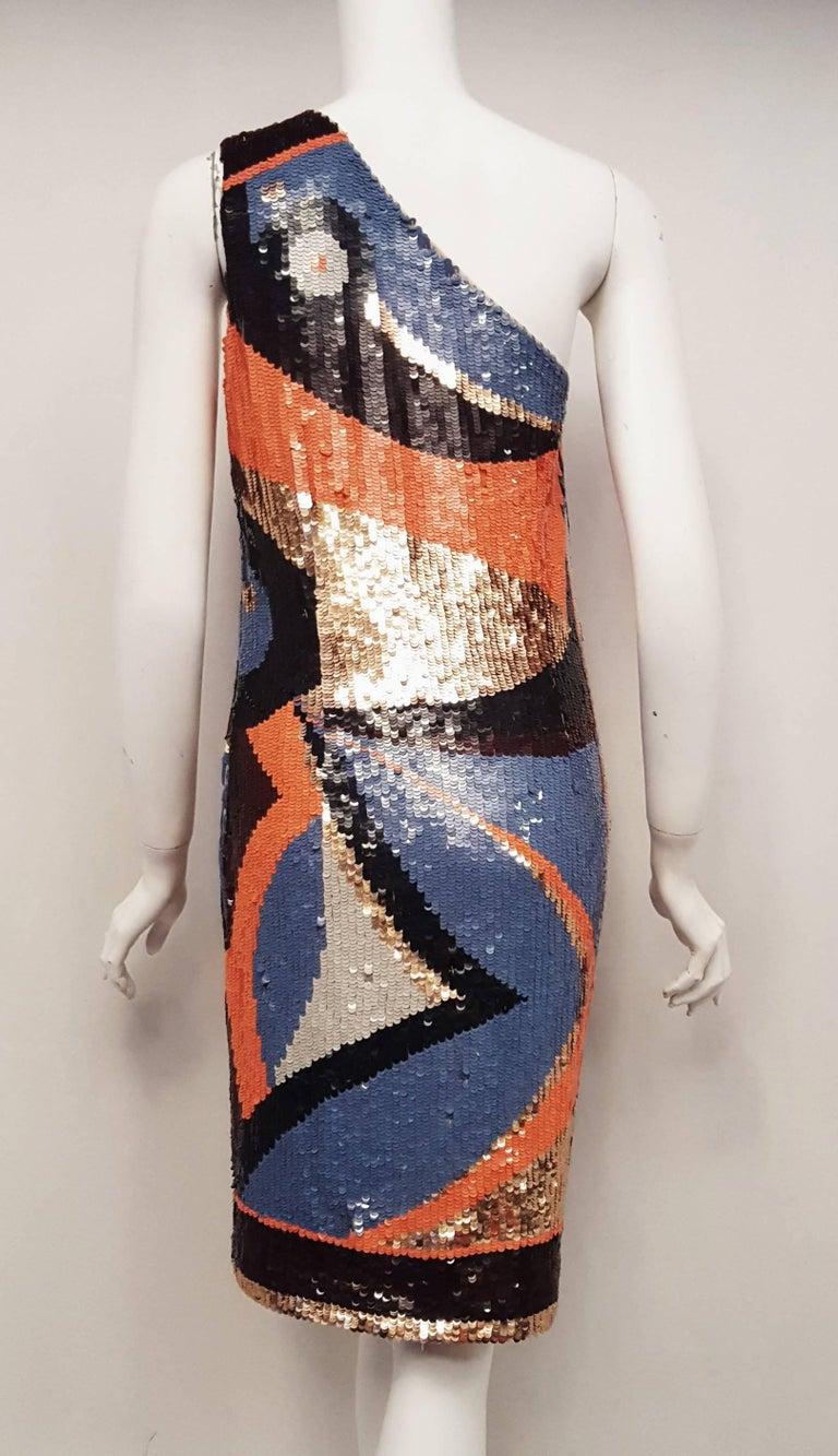 Black Emilio Pucci Sequined Geometric Print Dress  For Sale