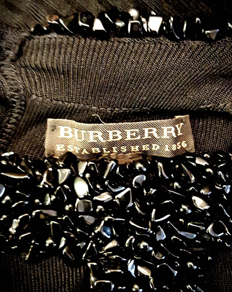 abbe58bc3cf18b Burberry Black Knit Trimmed with Black Ceramic Beads on Sleeveless Dress  For Sale 1