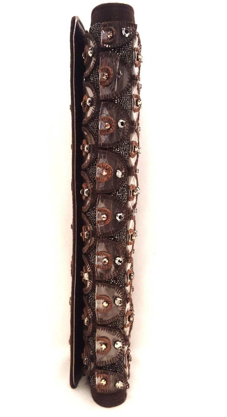 Women's Roberto Cavalli Bronze Crystal Decorated Clutch Bag w Removable Rope Chain Strap For Sale