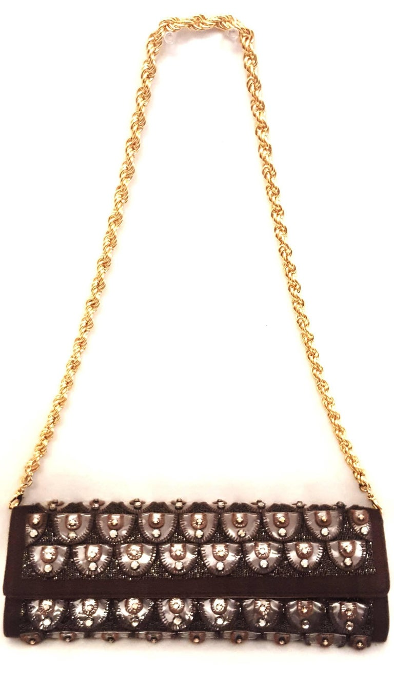 Roberto Cavalli Bronze Crystal Decorated Clutch Bag w Removable Rope Chain Strap For Sale 1