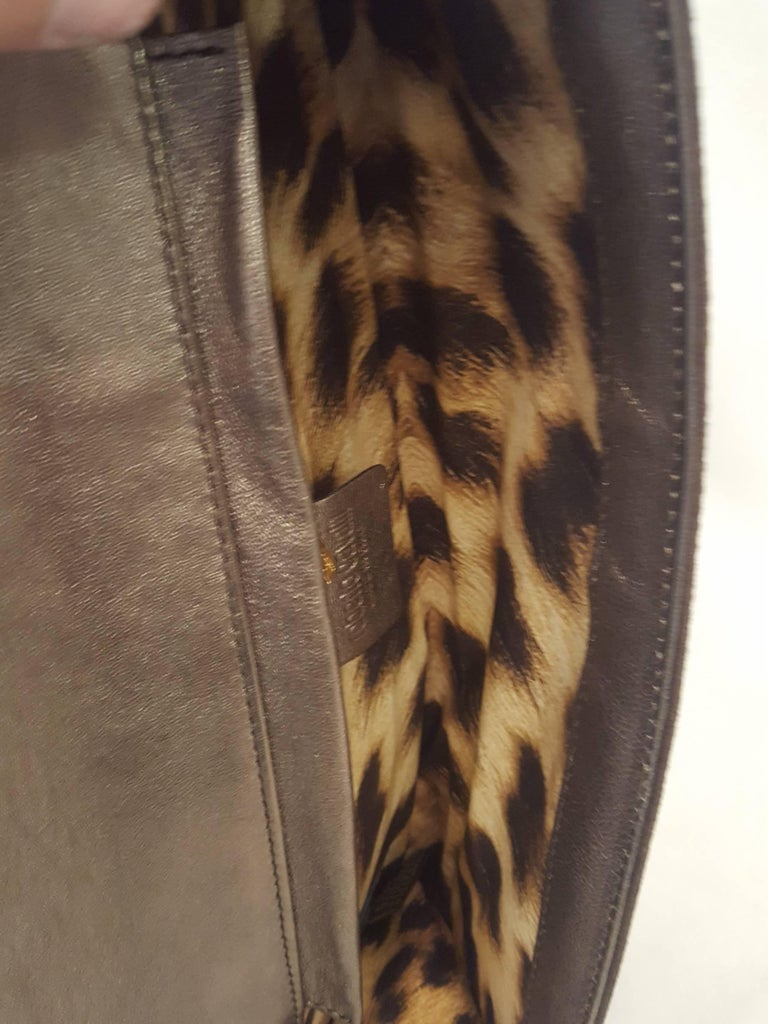 Roberto Cavalli Bronze Crystal Decorated Clutch Bag w Removable Rope Chain Strap For Sale 2