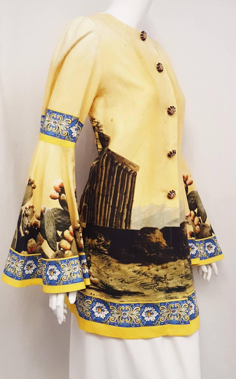 Beige Dolce & Gabbana Mustard Linen and Cotton A Line Blouse with Kolymbetra Print For Sale